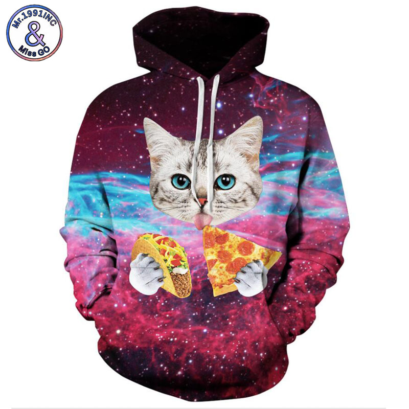 Mr.1991INC 2018 new Cats eat pizza printing 3d Sweatshirts Men/women hoodie sweatshirt Casual Hooded Pullovers Men Hoodies M128