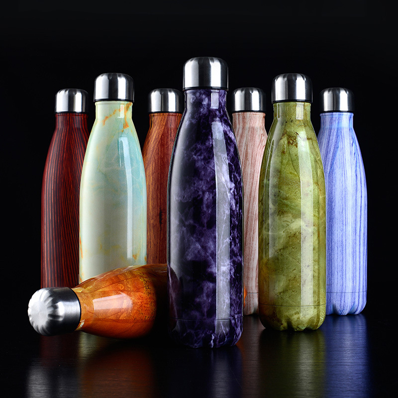 500ML Thermocup Wood Grain Travel Vacuum Flask Insulated & Cold Water Stainless Steel Water Bottle Double Wall Bottle