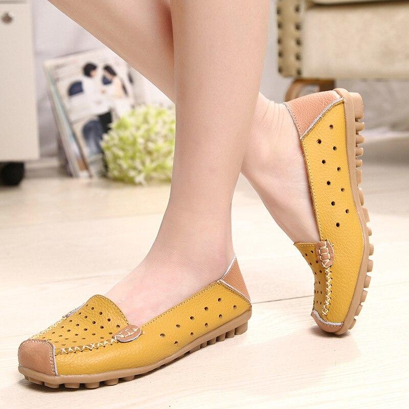 Factory Direct Pattern Genuine Leather Baotou Women's Shoes Flat Women's Singles Shoe Hollow Out WholesaleALEX