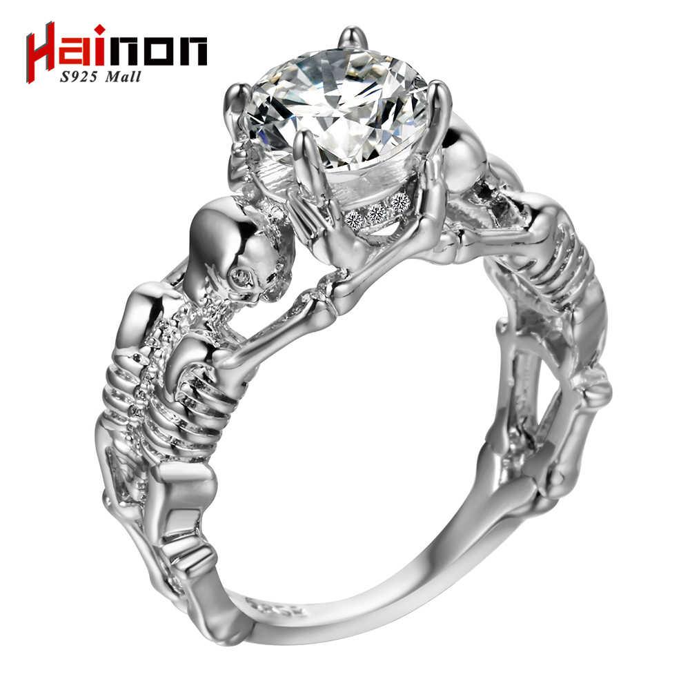 Ghost mal crânio esqueleto mão cz anel europeu e americano estilo punk motor biker men anel 2019 novo crânio masculino jóias