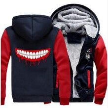Anime espesar a prueba de frío con capucha abrigo de tokio ghoul kaneki ken cosplay chaqueta sudaderas hombres mujeres top clothing