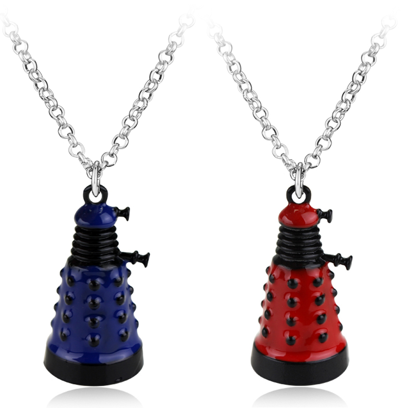 Doctor Who Blue Red Dalek Alien Silver Necklace Dr. Mysterious Alien Robot Pendant Necklace Collier Cosplay Chain Necklace