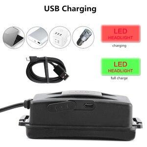 Image 5 - Linterna LED para cabeza de 20W con luces LED verdes blancas, 3 modos de iluminación, recargable por USB, luces de pesca impermeables para senderismo, Camping