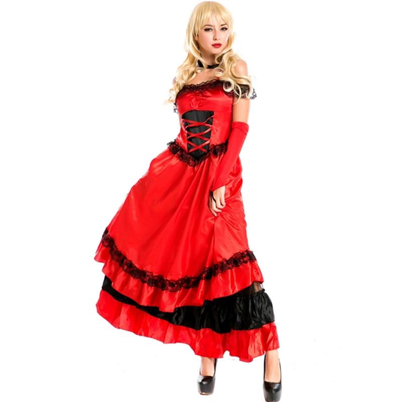 Nuevo estilo francés rojo cancan traje de baile showgirls baile vestido club party españa baile caliente disfraz disfraz