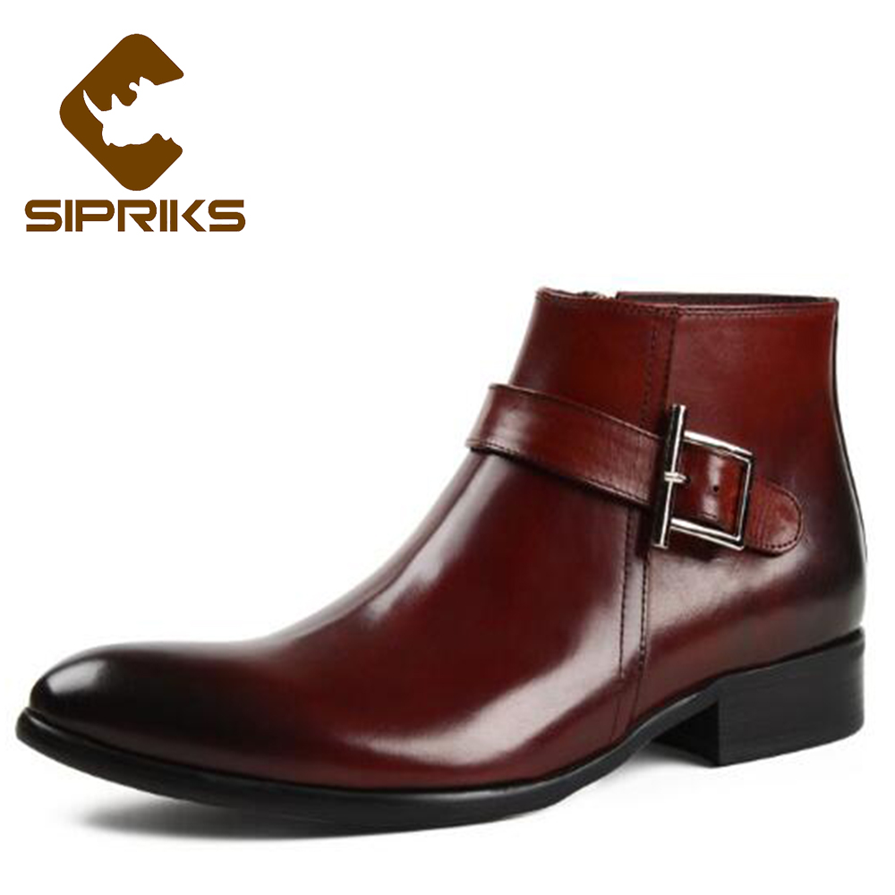 Sipriks Red Brown Pointed Toe Ankle Boots For Men Black Genuine Leather Zipper Dress Boots Luxury Brand American Work Boots 2017