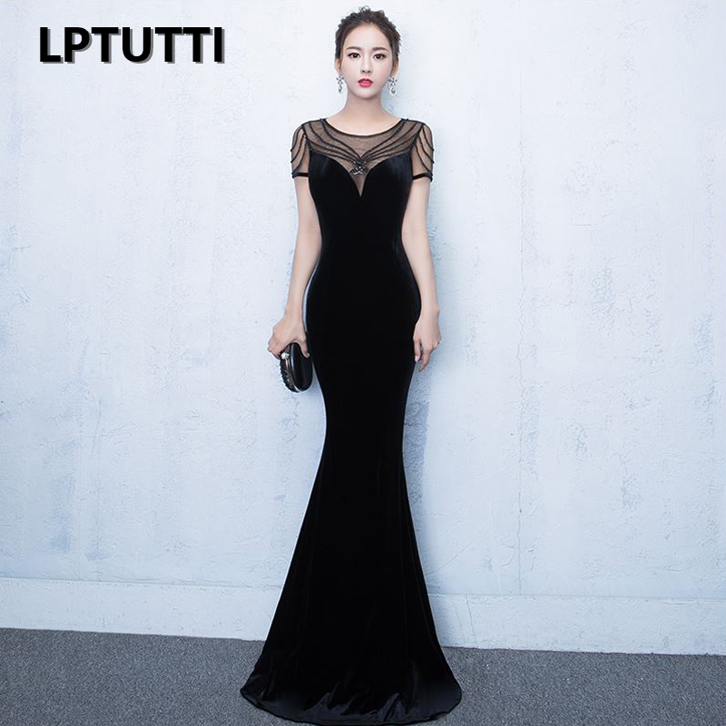 LPTUTTI Beading VELOUR Sequined New For Women Elegant Date Ceremony Party Prom Gown Formal Gala Luxury