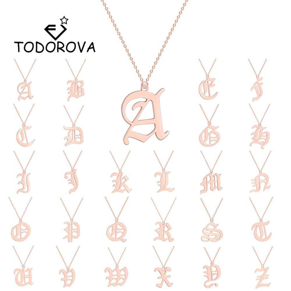 Todorova Capital Initial A-Z 26 Letter Name Necklaces & Pendant Stainless Steel Long Chain Necklace Women Men Jewelry