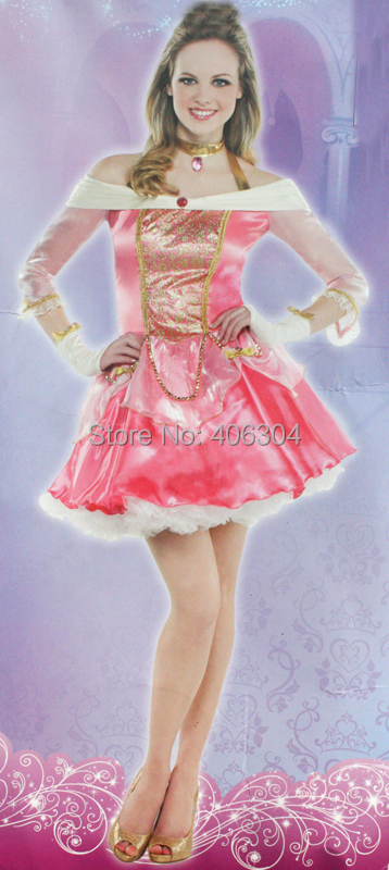 , high quality adult women hot pink sleeping beauty dress costume,party fairy tale Aurora princess - HH Party Costume Store store