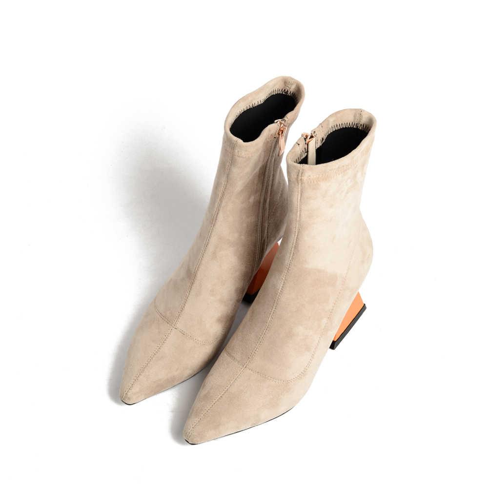 Tam Giác độc đáo Gót Thun Cổ Chân Giày Mũi Nhọn Nữ Thời Trang Nữ Cao cấp Nữ Giày Nữ Hoa Mai Đen MMS04 MUYISEXI