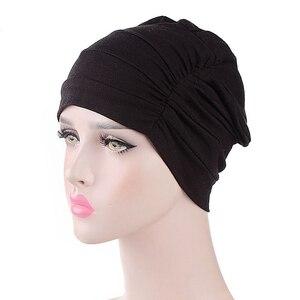 Image 1 - Женская индийская шляпа, новая мусульманская эластичная чалма, Кепка хиджаб, женская кепка для выпадения волос, повязка на голову, химиотерапия, Арабская шапочка, аксессуары
