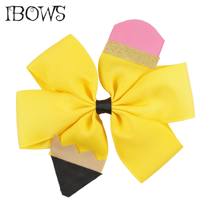 5 High Quality Girl Hair Clip School Hair Bows Boutique Pinwheel Crayon Pencil Hair Bow With Alligator Clips Go Back To School мочеприемник для водителей go girl