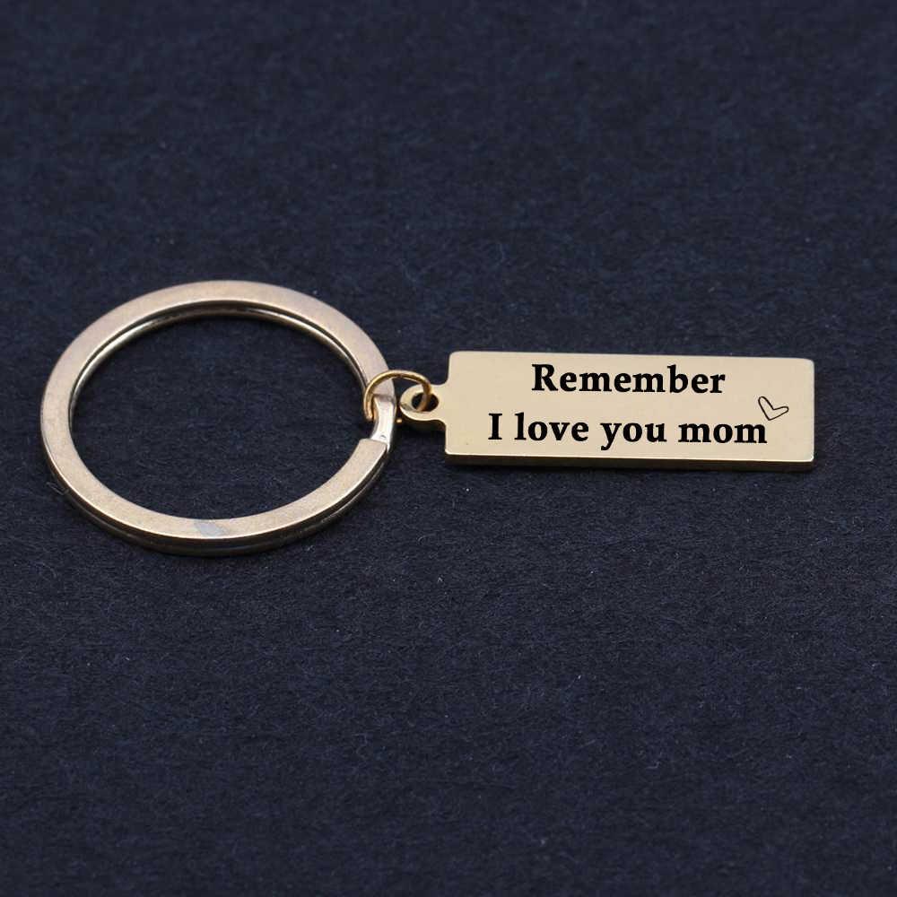 Мамы Подарок Мама и дочь сын любовь навсегда брелок День матери гравировкой remenber Я Люблю Тебя мама брелок выражение любви
