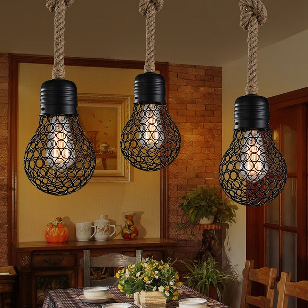 Loft Style Hemp Rope Bulb Mesh Droplight Edison Vintage Pendant Light Fixtures For Dining Room Hanging Lamp Indoor Lighting loft vintage edison glass light ceiling lamp cafe dining bar club aisle t300