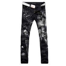 2017 новая мода прямой ногой джинсы длинные мужчины мужской печатные джинсовые брюки прохладный хлопок дизайнер хорошее качество бренда брюки MJB022