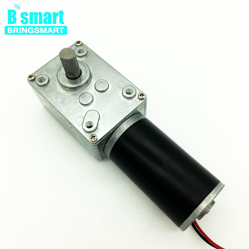 Bringsmart A58SW31ZY Worm Geare Motor 12V DC Micro Motors Mini Tools Self-Lock for Robot DIY Rotating Table Door Lock zgb37rg dc 12v 37mm cylindrical 5rpm output speed dc geare motor diy robot