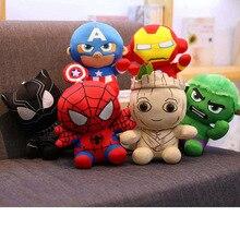 6 Pcs A Lot 18 Cm Avengers Super Hero Plush Toys Wall Stuff Stuffed Iron Man Spider Thor Cartoon For Children