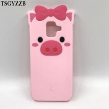 цена на For Samsung Galaxy A6 2018 Case Cover Cartoon Cute Pig Piglet Bow Ears Soft Silicone Cases For Samsung A6 2018 Phone Back Fundas