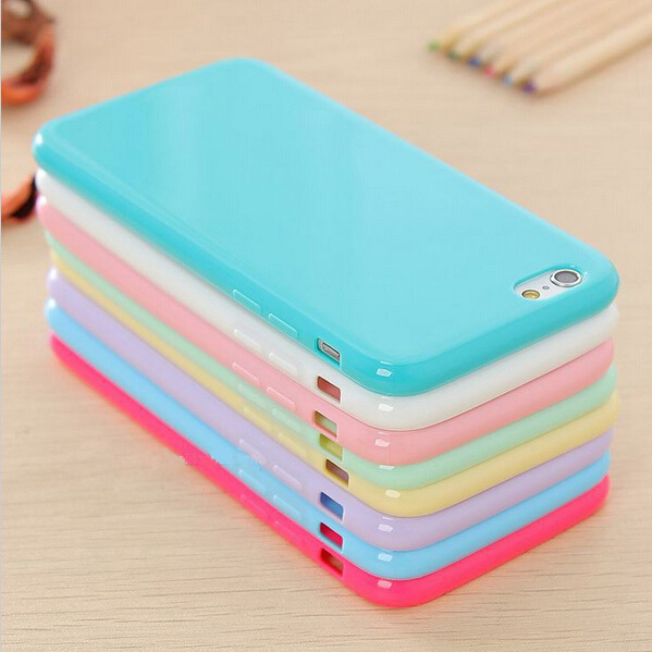 Hot ! Solid Candy Color TPU Soft Rubber Skin Cover Phone Case for Apple iphone 6 4.7'' inch Phone Accessories 12 Colors