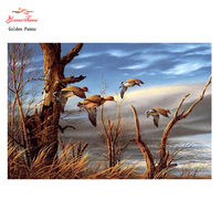Golden Panno,DIY DMC 11CT 14CT completely Cross stitch Animal Wild goose kits embroidery needlework sets wall decoration 08