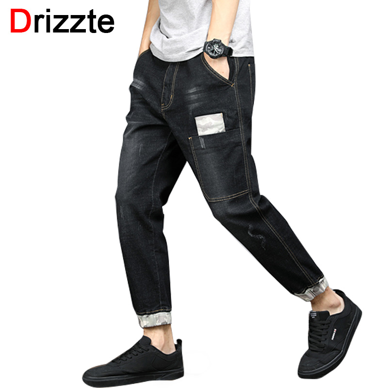 Drizzte Ankle Jeans Men Blue Stretch Denim Camouflage Vintage Patched Cuffed Large Plus Size Pants Trousers Clothing 28-48 men s jeans homme denim pants for men straight casual skinny male slim fit clothes big size 30 48 masculino washed trousers e485