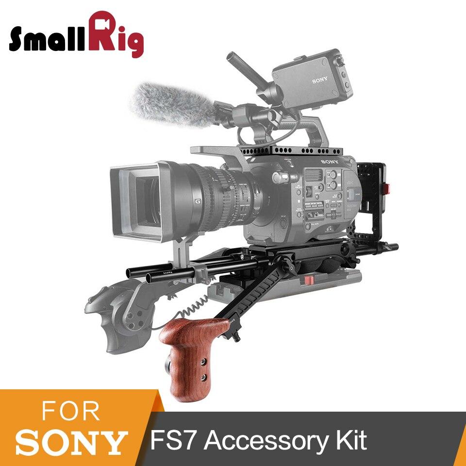 SmallRig for FS7/FS7II Professional Accessory Kit (Top Plate+15mm Rod+Shoulder Pad +Arri Rosette Arm+Wooden Grip ) 2045