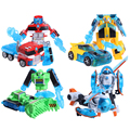 Free Shipping 4pcs/set Rescue Bots Deformation Robot Bumblebee/Optimus/Bulldozer/Helicopter Robots Transformation toy