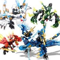 4pcs Set Dragon Knight Building Blocks Compatible Legoing Kids Hot Toys Ninja Bricks Mini Figures Enlighten