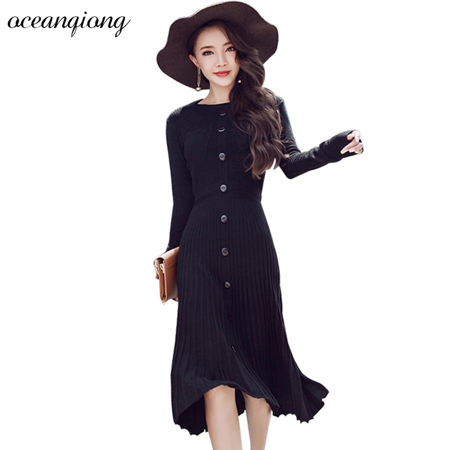 Knitted Dresses Women Long Sweater Dress 2017 Autumn Sexy Winter Dresses Long Sleeve Pleated Solid Warm Knitted Dress Button