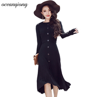 Knitted Dresses Women Long Sweater Dress 2017 Autumn Sexy Winter Dresses Long Sleeve Pleated Solid Warm