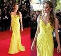 2014 Angelina Jolie Red Carpet Partido Vestidos Sexy Custom Made Sereia Até O Chão Vestido Da Celebridade Amarelo Querida Plissado Straps