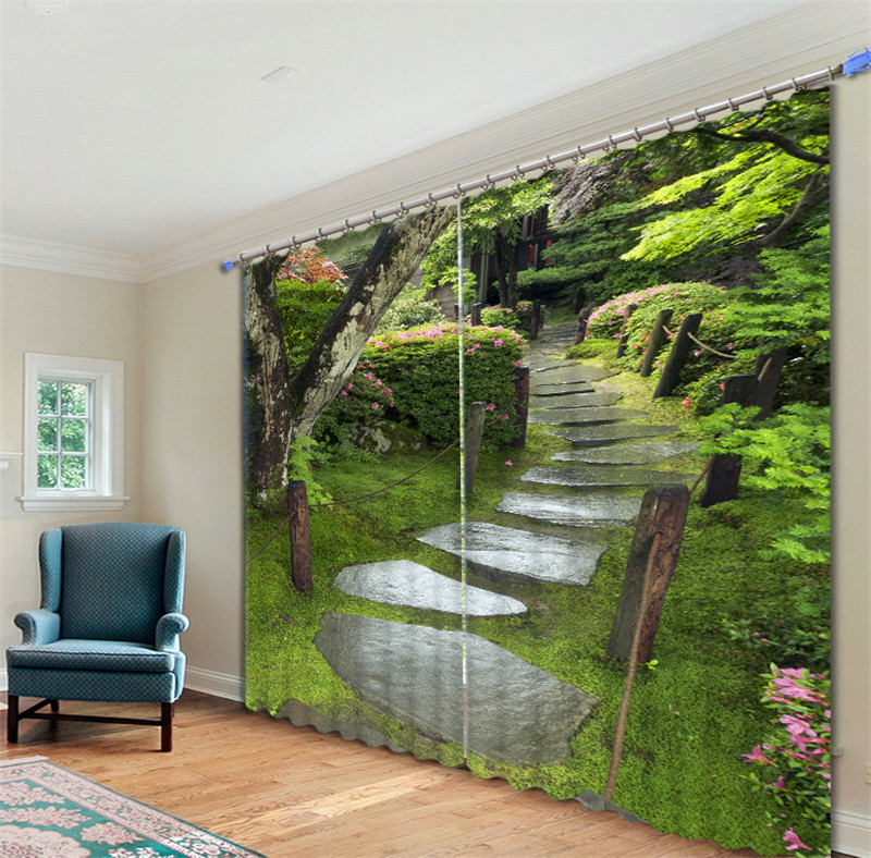 Forest Path 3d Painting Blackout Curtains Office Bedding Room Living Room Sunshade Window Curtain Bedding Set Custom-made Size Sufficient Supply Home & Garden