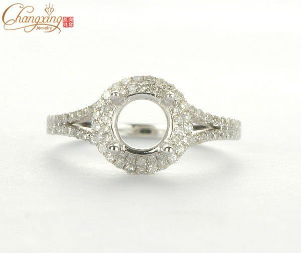 SÓLIDO 14kT ORO BLANCO 0.38CT DEL DIAMANTE Natural SEMI MONTE el ANILLO AJUSTE