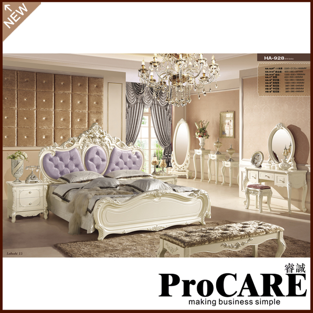 Purple And White Bed Antique Design Furniture Wood Bedroom