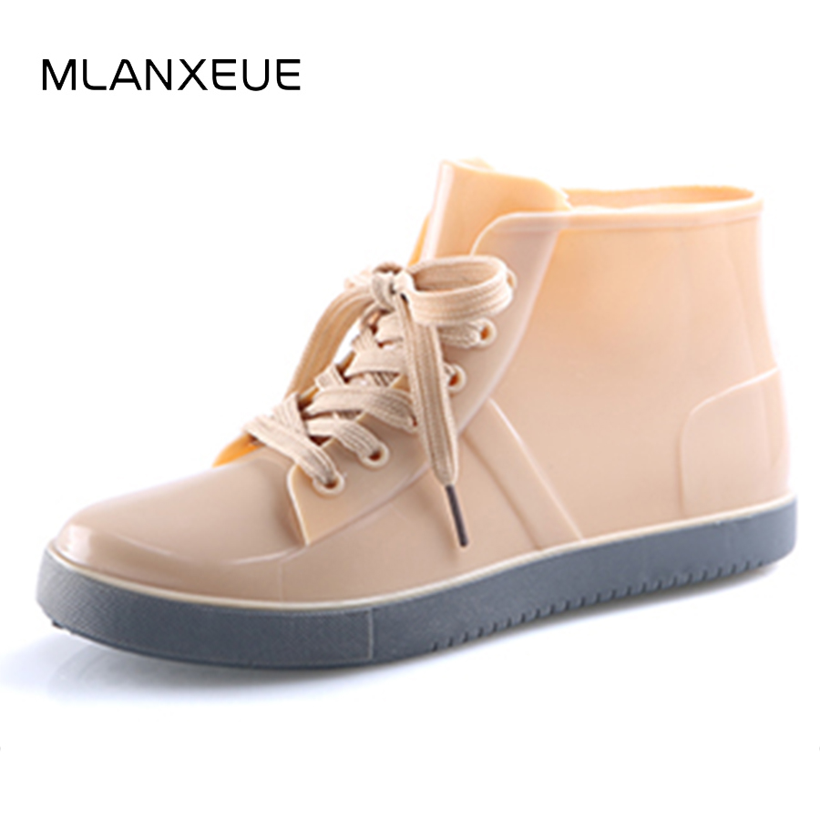 MLANXEUE Fashion Women Rain Boots Waterproof Women Martin Boots Lace-up Non-slip Female Winter Snow Boots Add Cotton Lady Shoes