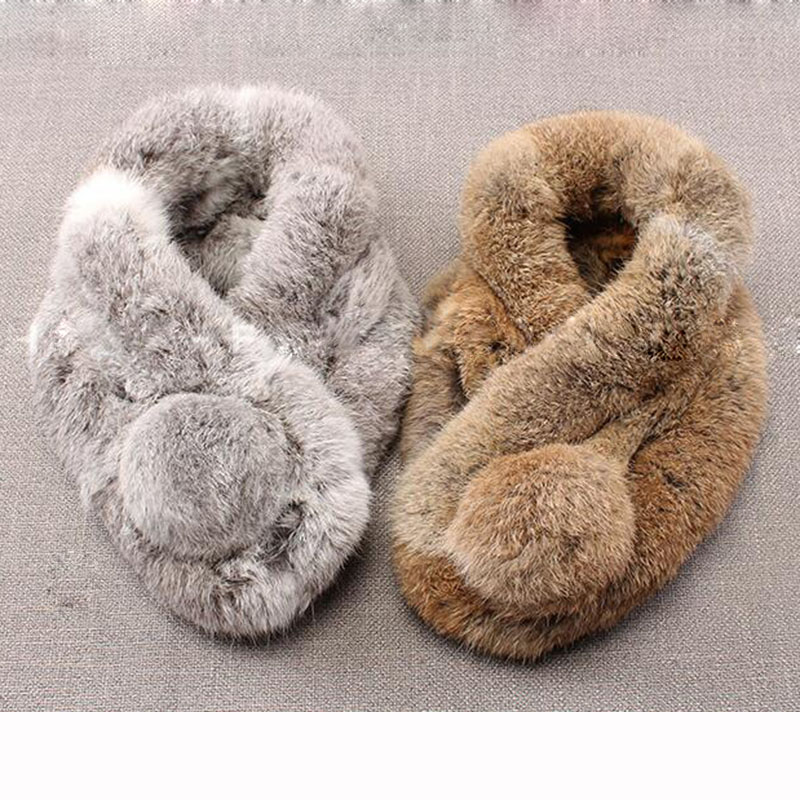 Real Rabbit Fur Scarf With Ball Women Winter Warm Thick Genuine Fur Scarves Natural Ladies Luxury Female Thick Fur Scarves