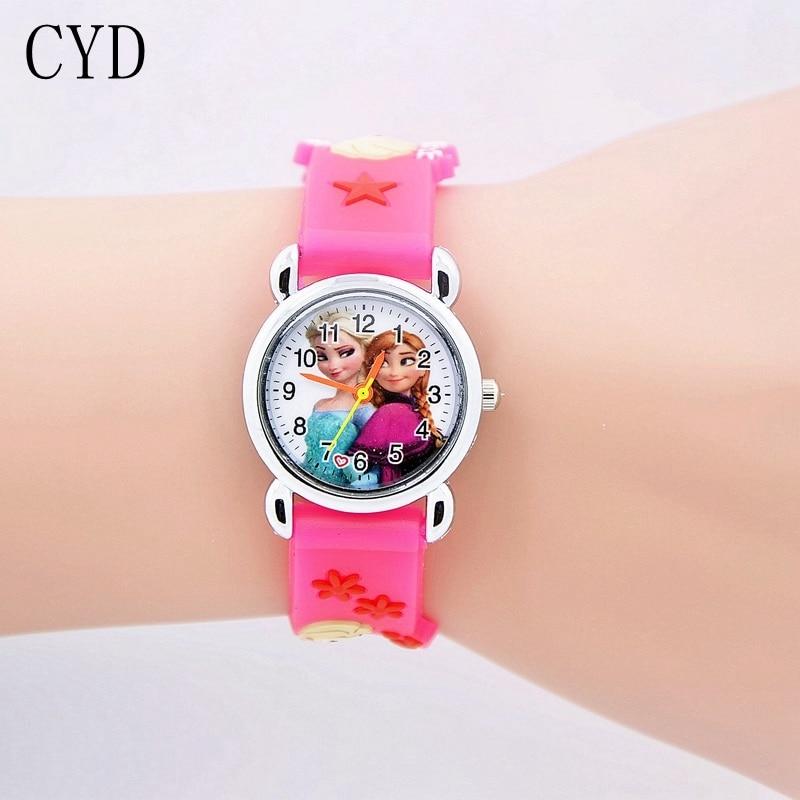 2017 Cartoon Princess Elsa Anna Watches Fashion Children Girls Kids Student Cute Silicone Wrist Hour Gift relojes