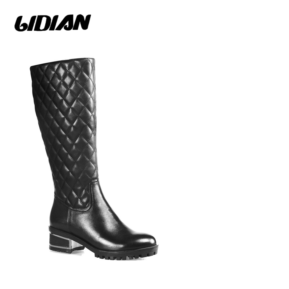 LIDIAN 2018 Women Black high boots Low heels Full Grain LeatherBoots Embodinary Shaft winter Warm Boots Wool fur inside H20LIDIAN 2018 Women Black high boots Low heels Full Grain LeatherBoots Embodinary Shaft winter Warm Boots Wool fur inside H20