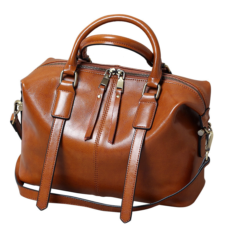 Real Cow Leather Women Handbags Genuine Leather Women bag handbag Totes Messenger bags Brand Oil Wax Leather Shoulder bag 2018 dikizfly soft genuine leather women handbags casual totes bag real leather brand work handbag purse elegant messenger bags bolsa