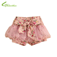 Girls Floral Mesh Pastoral Style Shorts Kids Children Flower Bowknot Short Pants Baby Girl Summer Clothing