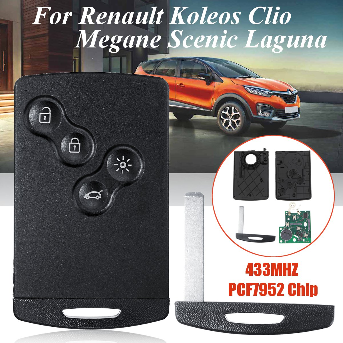 4 Button Replacement Smart Key Card Case Fob For Renault Koleos Megane Scenic