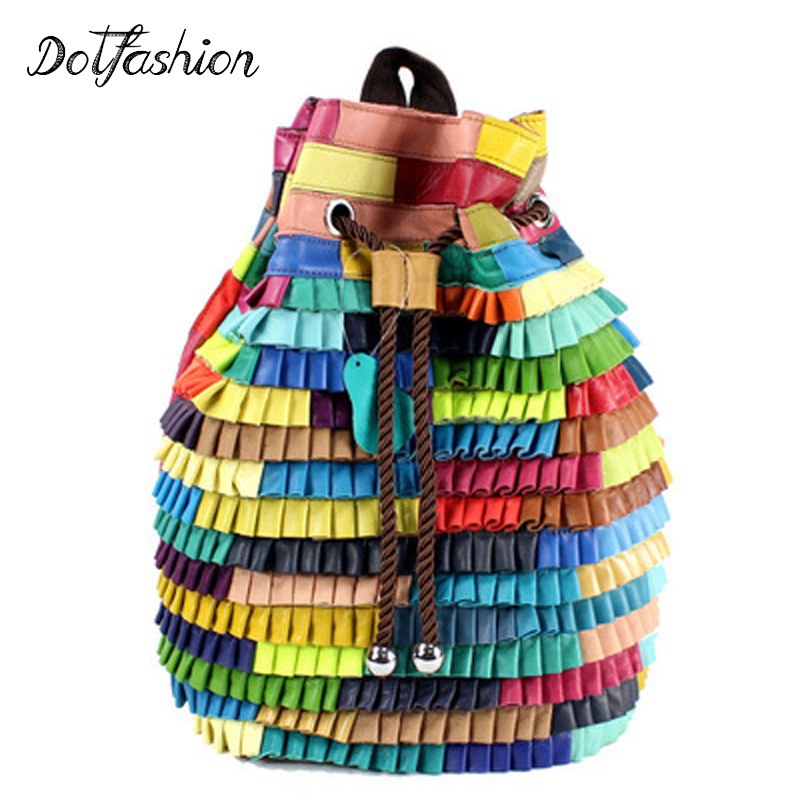 Genuine Real Leather Backpack Women Sheepskin Bag Patchwork Patterns High Fashion Back Pack For Teenage Girls 2017 Spring New luxy moon real genuine leather backpack for women sheepskin small mini mutifuction shoulder bag fashion women s bags zd724