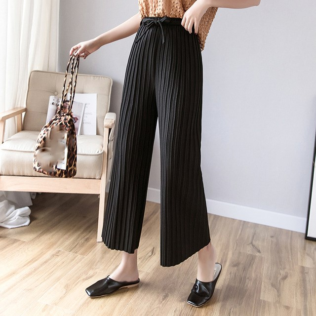 New Cotton Office Pleated Ankle-Length   Pants   Solid High Waist Casual   Pant     Wide     Leg     Pants   Elegant Sashes Loose   Pant