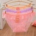 New fashion cotton girl shorts briefs lace Hollow ms underwear pertty falbala split bud silk low waist woman panties girls free