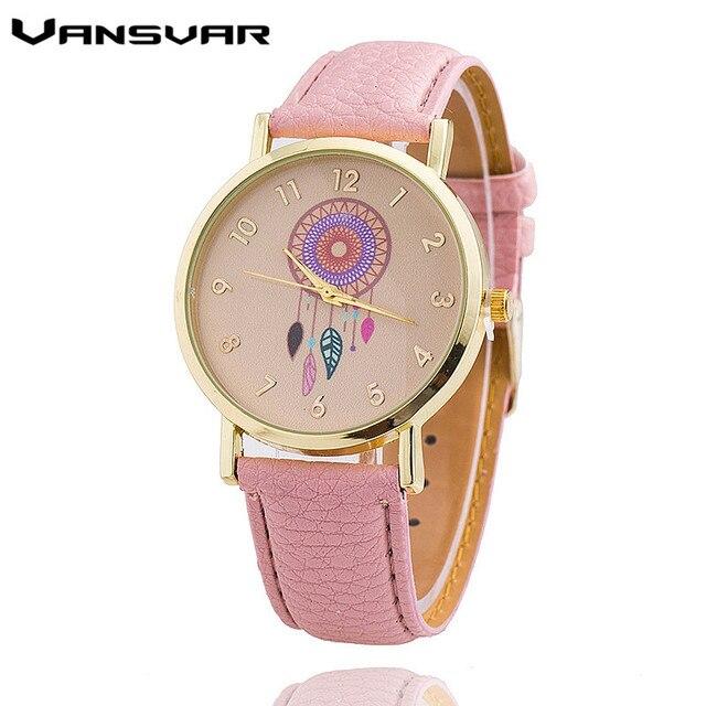 Dropshipping נשים לוכד חלומות שעון אופנה מזדמן רצועת עור גבירותיי Quarzt שעונים Relogio Feminino