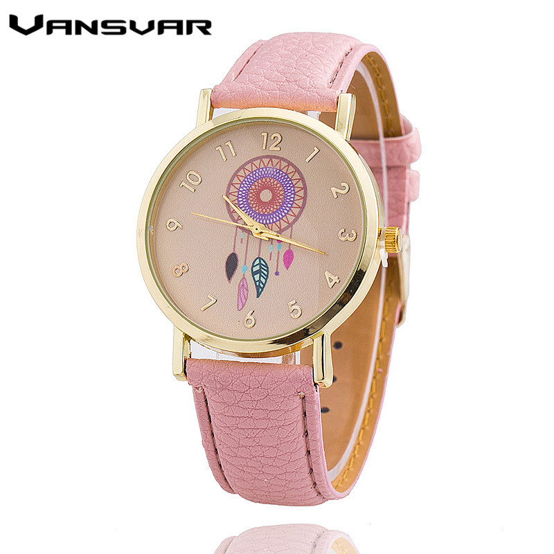Dropshipping Women Dreamcatcher Watch Fashion Casual Leather Strap Ladies Quarzt Watches Relogio Feminino