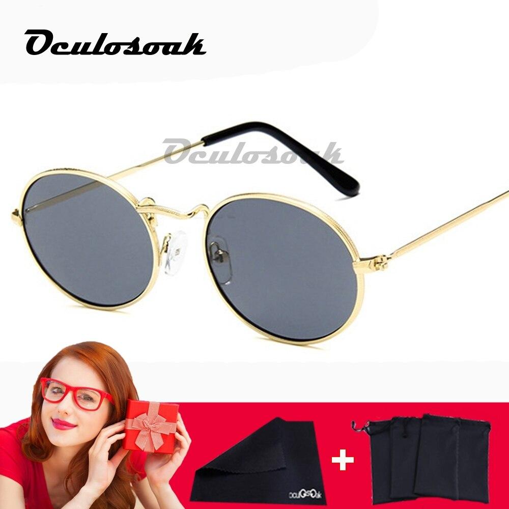 Retro oval sunglasses Women 2019 Luxury brand designer vintage small black Red Yellow Men shades sunglasses oculos UV400 in Women 39 s Sunglasses from Apparel Accessories