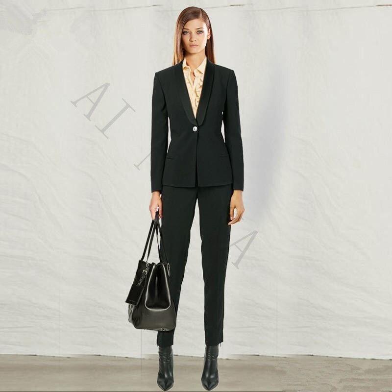 Office Uniform Designs Women Formal Pant Suits For Weddings Women Evening Party Suits High ...