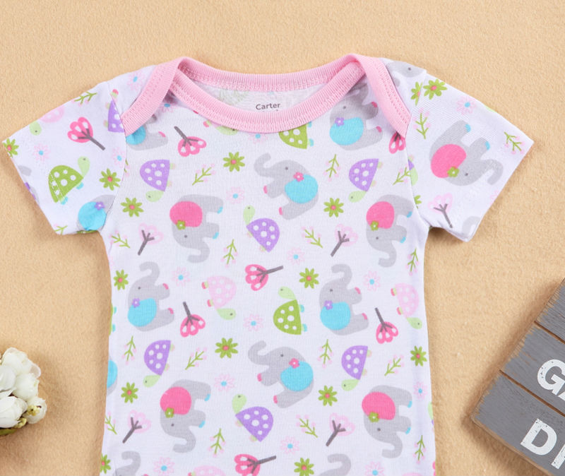 2018 New tender Babies Printen Short Sleeve Baby Clothing 100% Cotton Soft Newborn Baby One-piece Clothing 0-24 M Clothing Girls