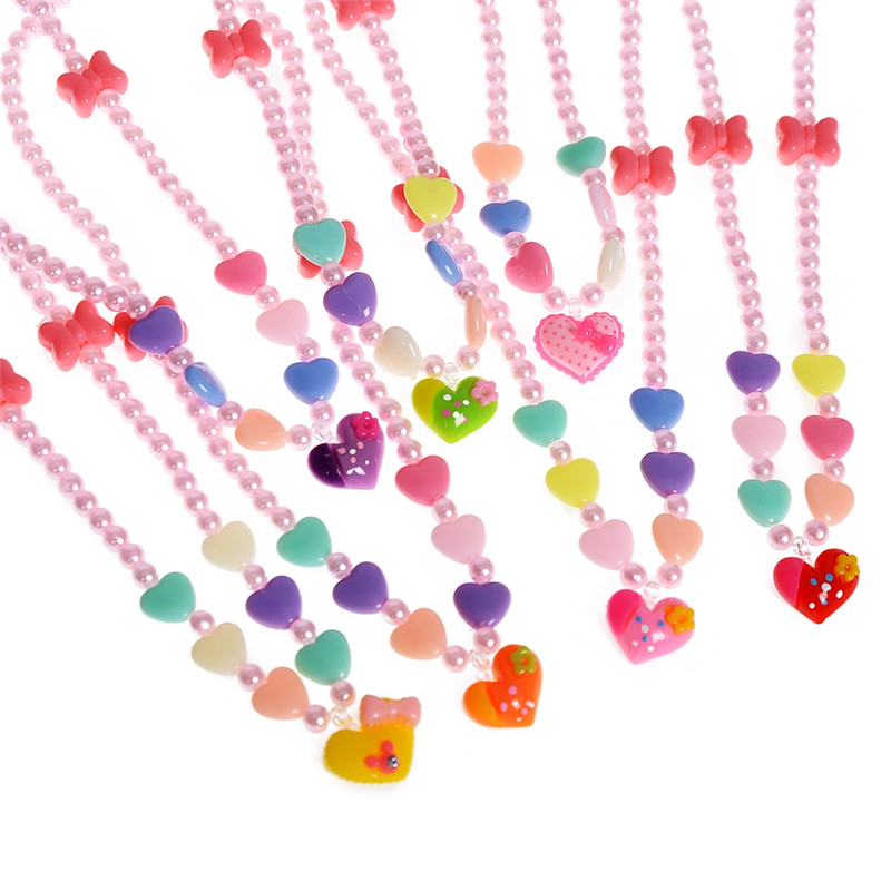 New Colorful Candy Color ABS Beads Children Choker Necklace Kids Baby Elastic Stretchy Heart Pendant Necklace