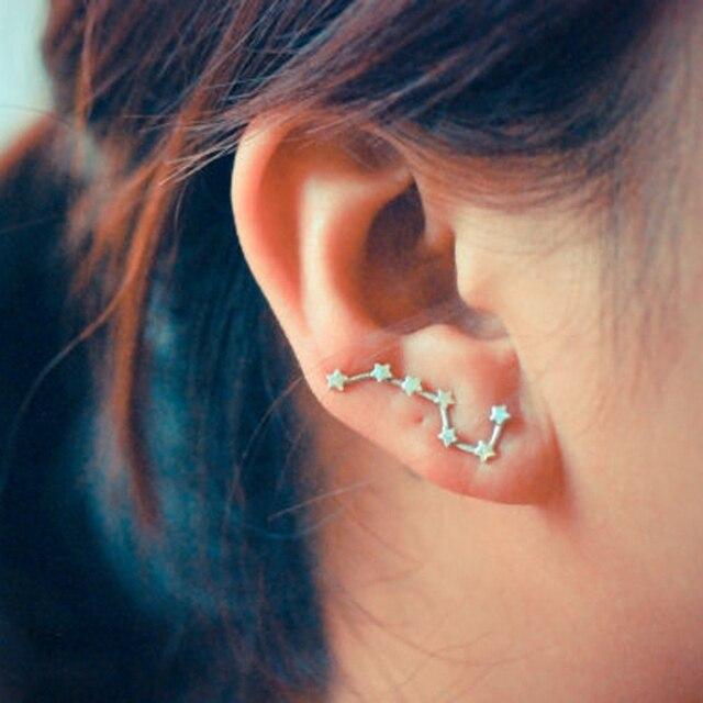 b9dea8a0eb01 1 par de mujeres plata oro rosa Color estrella forma Dipper constelación Clip  pendiente oreja
